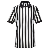 EALER ERJ100 Series Women's Official Pro-Style Collared Black & White Stripe Referee / Umpire Jersey, Great for Basketball, Volleyball, Football, & Soccer