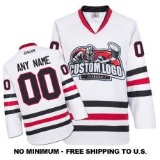 EC-E009 Custom Your Hockey Jerseys (Any Logo Any Number Any Name) White