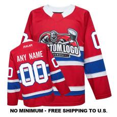 EC-EF067 Custom Your Hockey Jerseys (Any Logo Any Number Any Name) Red