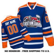 EC-E011 Custom Your Hockey Jerseys (Any Logo Any Number Any Name) Blue