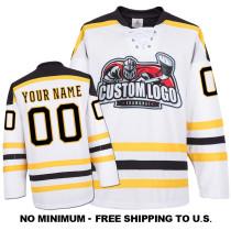 EC-E057 Custom Your Hockey Jerseys (Any Logo Any Number Any Name) White