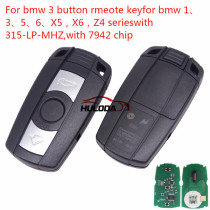For Bmw 3 button remote key for bmw 1、3、5、6、X5、X6、 Z4 series with PCF7945 Chip 315-LP- MHZ  Its for CAS3 and CAS3+ Systems.