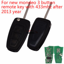 new mondeo 3 button remote key with 433mhz after 2012 year we haven't put 4d63 chip,you can buy 4d63 chip by yourself
