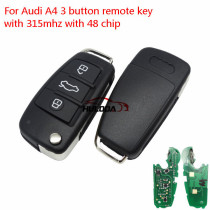 For Audi A4 3 button flip remote key with 315Mhz