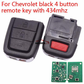 Chevrolet black 4 button remote key with 434mhz