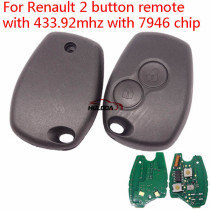 After market for Renault Clio3, for Kangoo, for Trafic 2 button remote key with 433Mhz and ID46  PCF7946  (before 2008 year)