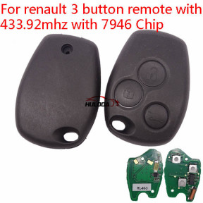 After market For Renault Clio3/Kangoo/Trafic 3 button remote key with 433Mhz and  ID46  PCF7946   (before 2008 year)