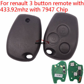 After market For Renault Clio3/Kangoo/Trafic 3 button remote key with 433Mhz and ID46  PCF7947  (after 2008 year)
