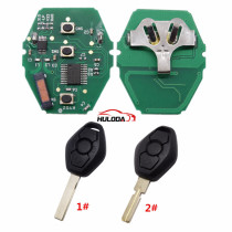 For BMW 5 Series CAS2 systerm 3 button remote key with 2 track blade and 4 track blade you can choose  434mhz PCF7945chips