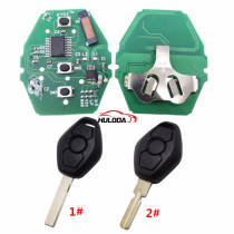 For BMW 5 Series CAS2 systerm 3 button remote key with 2 track blade and 4 track blade you can choose  315mhz PCF7945chips