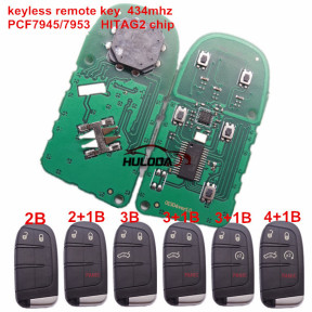 For Chrysler keyless  remote key with 434mhz with PCF7945/7953   HITAG2 chip with 2/2+1/3/3+1/4+1 button key shell , please choose