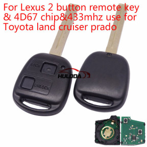 For Lexus 2 button remote key with 4D67 chip with 433mhz use for Toyota land cruiser prado
