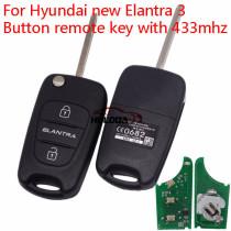 For Hyundai new Elantra 3 Button remote key with 433mhz