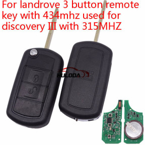 For landrover 3 button remote key with 315mhzmhz used for Discovery III  with 7941 chip