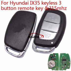 For Hyundai IX35 keyless Smart 3 button remote key with 7945AC1500 chip (PCF7945/7953 chip ) 434mhz for IX35 2013 year
