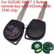 For Suzuki SWIFT 2 Button remote key with 433mhz with 7936 chip