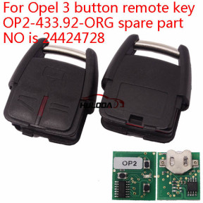 For Opel 3 button remote key OP2-433.92-ORG spare part NO is 24424728