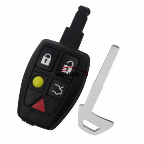 For Volvo 5 button remote key shell with key blade