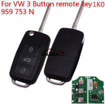 For For VW remote key with 3 button used for passat bora and laFor VWida .etc 1KO959753N