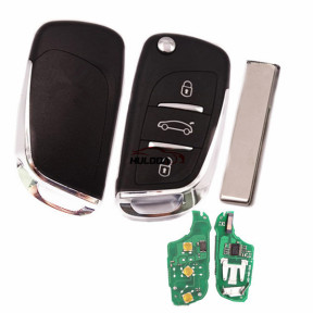 For Peugeot 3 button remote key with 434mhz FSK model  with PCF7941 chip with logo