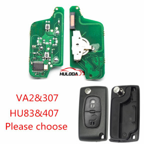 For Citroen 2 Button Flip Remote Key  433mhz (battery on PCB) FSK model  with 46 chip with VA2 and HU83 blade , please choose the key shell