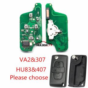For Citroen 4Button Flip  Remote Key 433mhz  (battery on PCB) with 46 chip FSK model with VA2 and HU83 blade , please choose the key shell
