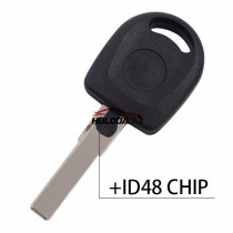 For VW Passat transponder key shell with ID48 chip  with logo