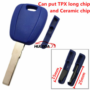 For Fiat transponder key blank -(can put TPX long chip and Ceramic chip) blank color is blue ,with SIP22 blade