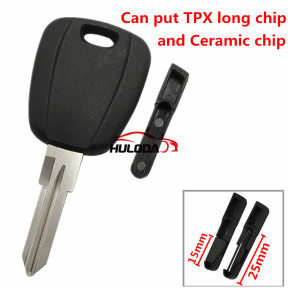 For Fiat transponder key blank  with GT15R blade(can put TPX long chip and Ceramic chip) blank color is black ,with SIP22 blade