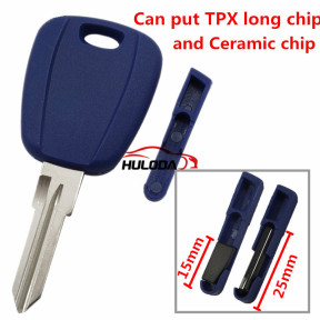 For Fiat transponder key blankwith GT15R blade(can put TPX long chip and Ceramic chip) blank color is blue ,with SIP22 blade