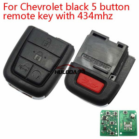 Chevrolet black 5 button remote key with 434mhz