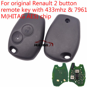Original For Renault 2 button remote key with 433mhz & 7961(HITAG AES) chip no blade