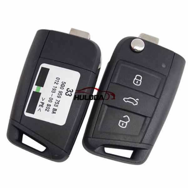 Original For VW golf MK7 3 Button remote control FCCID is 5G0959753BA with 433MHZ with ID48chip