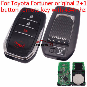 Original For Toyota  Huilux 2+1 button remote key with 433Mhz