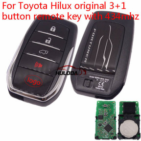 Original For Toyota Fortuner 3+1 button remote key with 433Mhz