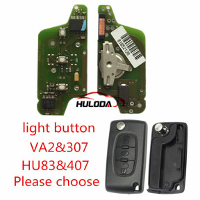 For Peugeot original 3 Button Flip Remote Key 434mhz (battery on PCB) with 46 PCF7941 chip FSK model  with VA2 and HU83 blade, light button , please choose the key shell