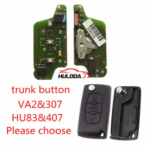 For  Citroen  original 3 Button Flip Remote Key 434mhz (battery on PCB) with 46 PCF7941 chip FSK model  with VA2 and HU83 blade, trunk button , please choose the key shell