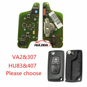 For  Citroen  original 2 Button Flip Remote Key  433mhz (battery on PCB) FSK model  with 46 chip with VA2 and HU83 blade , please choose the key shell