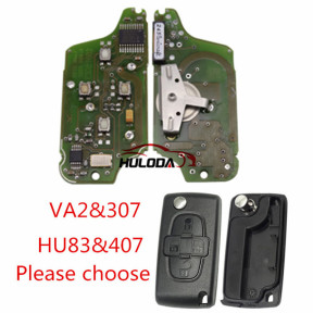 For Peugeot original 4Button Flip Remote Key 433mhz , (After April 2011 year) (battery on PCB) with 46 chip FSK model with VA2 and HU83 blade , please choose the key shell