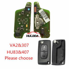 For Peugeot original 2 Button Flip Remote Key with 433mhz  (battery on PCB) with ASK model  with 46 PCF7941chip with VA2 and HU83 blade , please choose the key shell