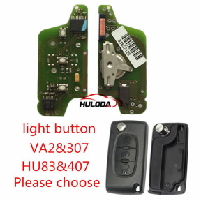 For Citroen  original 3 Button Flip Remote Key 434mhz (battery on PCB) with 46 PCF7941 chip FSK model  with VA2 and HU83 blade, light button , please choose the key shell