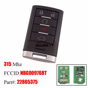 For Cadillac SRX 5 button smart key with 315Mhz PCF7952 chip  FCC ID:NBG009768T  Part#: 22865375