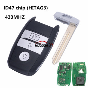For Kia K4/K5 keyless 3 button Smart remote key with 47 chip smart card HITAG3 433Mhz