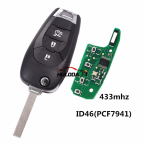 For Chevrolet 3 button flip remote key with PCF7941E /  HITAG 2 / 46 CHIP chip 433Mhz
