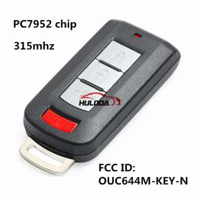 After Maket For Mitsubishi 3+1 button keyless smart remote key with 315mhz & PCF7952 chip FCC ID:OUC644M-KEY-N