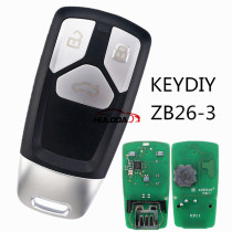 For Audi style ZB26 3 button  smart remote key For KD900,URG200,mini KD and KD-X2 generate new keys ,For produce any model  remote