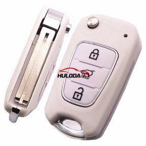 For Hyundai  3 button flip remote key blank with HY22 Blade  White color