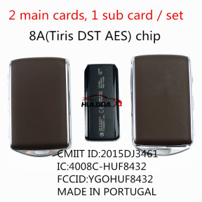 Genuine volvo smart card 3+1 button 433.92mhz with 8A(Tiris DST AES) chip  CMIIT ID:2015DJ3461 IC:4008C-HUF8432 FCCID:YGOHUF8432 MADE IN PORTUGAL 3PCS cards/set