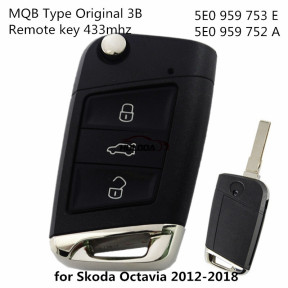 For Original VW Skoda 3 Buttons 434MHz MQB Type Flip Proximity Smart Key for Skoda Octavia 2012-2018 -  5E0 959 753 E  (5E0 959 752 A)