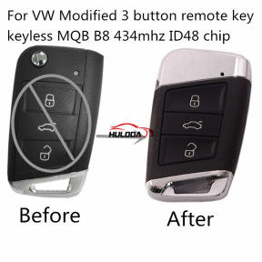 For VW Modified  keyless MQB B8 3 button remote key  with 434mhz ID48 chip